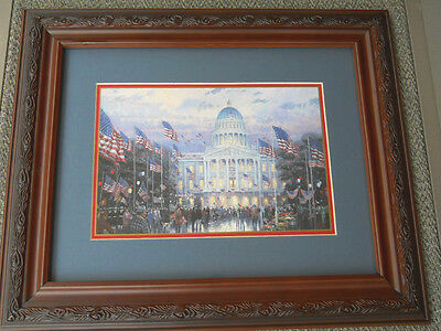 "Thomas Kinkade Framed Matted Print Flags Over The Capitol 14.5"" X 17.5"" COA New"