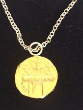 """Aureus Of Cladius Coin WC31 Gold Made In Pewter On 16"""" Silver Plated Necklace"""