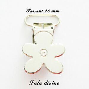 1 Pince Fleur Attache tétine sucette doudou passant de 20 mm Clip bretelle