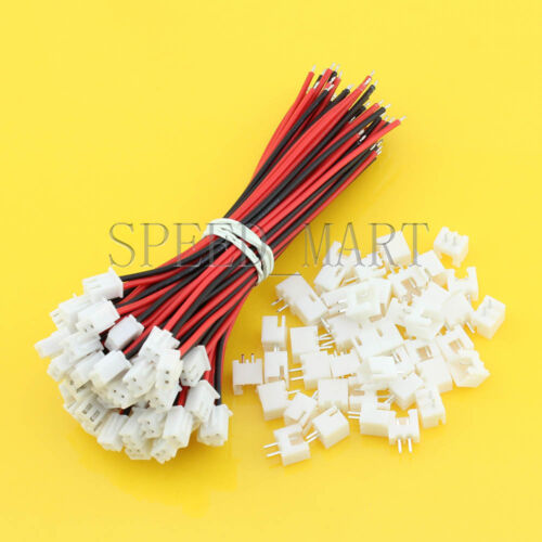100 Sets XH2.54 Single-Head 2Pin Wire To Board Connector 10cm 22AWG With Socket