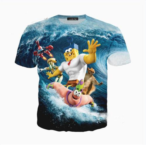 Men Women SpongeBob SquarePants 3D Print Casual T-Shirts Shirts Short Top Tee