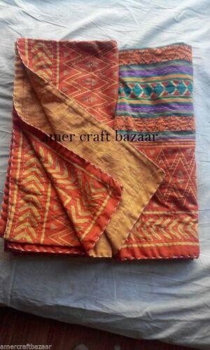 Indian Handmade Quilt Vintage Kantha Bedspread Throw Cotton Blanket Gudri Queen^