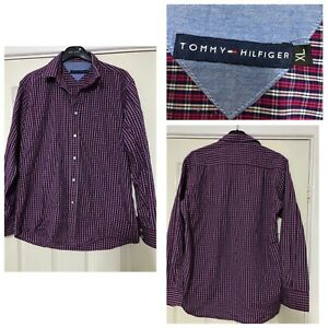 Tommy-Hilfiger-Red-Shirt-Checked-Long-Sleeve-Size-XL-Mens-B512