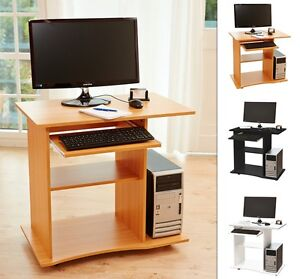 Das Bild Wird Geladen Computertisch  PC Schreibtisch Buerotisch In Schwarz Weiss Buche