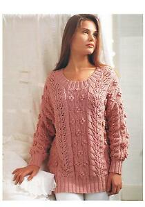 f4d96ca48 Ladies Knitting Pattern Leaf   Bobble Design Sweater PATTERN ONLY 32 ...