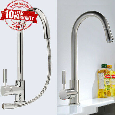 Kitchen Tap With Pull Out Hose - Monobloc Sink Mixer Chrome or Brushed Steel
