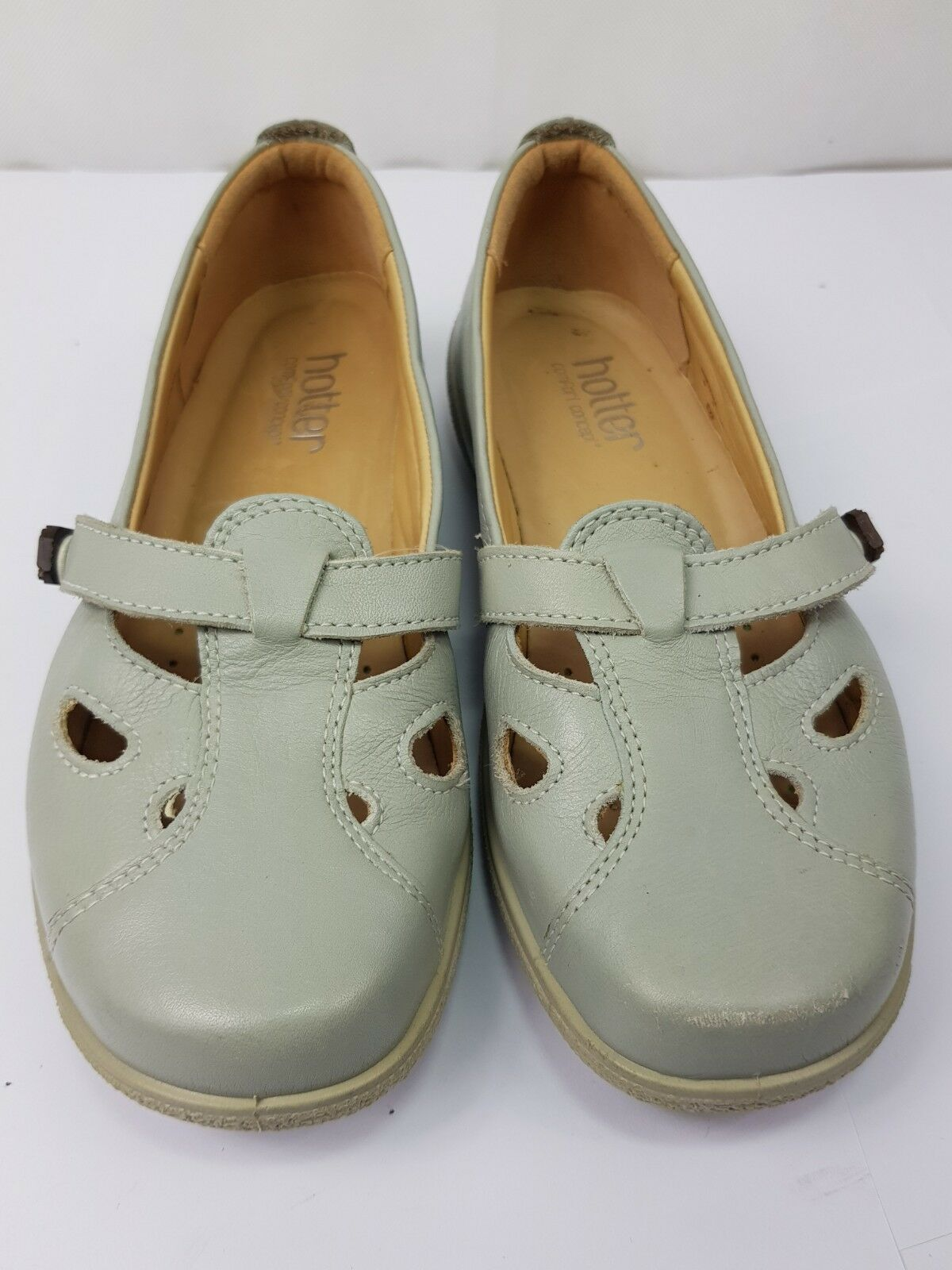 HOTTER Comfort Concept Strapped Pale Grey shoes UK 4 - Pre-worn. VGC