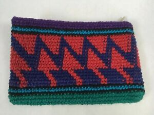 Vintage-Guatemalan-Hand-Woven-Coin-Purse-Purple-amp-Red-amp-Green-Pouch-Wallet-NOS