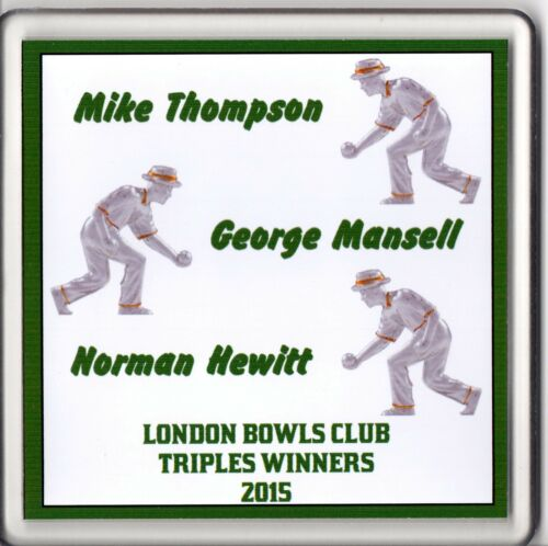 Personalised Acrylic Coaster Indoor Lawn Bowls Your Club Mens Triples Winners