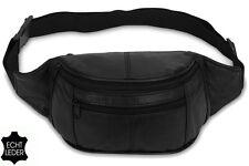 Riñonera negro cuero auténtico cinturón Bolsa Doggy bag de cadera Bolso mod. no. 4
