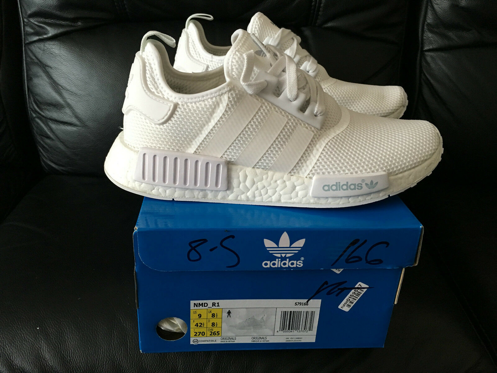 Adidas NMD R1 Runner Triple Tous blanc Maille Tailles UK 6.5 & 7.5 Neuf