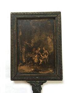 Antique european wood hand vanity flirting mirror with for Long antique mirror