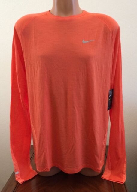 Molte situazioni pericolose Mal di mare Una pila di  Nike Dry Long Sleeve Running Shirt Orange Mens Size L Large Top Shirt  835417-842 for sale online
