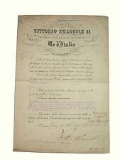 Decreto Autografo Vittorio Emanuele II Re d'Italia Accademia Belle Arti Modena
