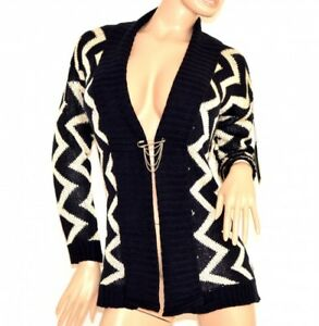 Maillot-femme-cardigan-blanc-bleu-manches-longues-pull-ouvert-fantaisie-trui-140