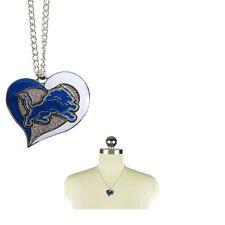 Brand New NFL Detroit Lions Swirl Heart Necklace Jewelry