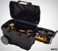 Portable Rolling Tool Box Wheels 15 Gal. Contractor Chest Storage In Black