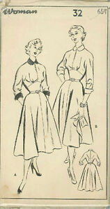 Vintage Ladies Dress Sewing Pattern W651 Size 32