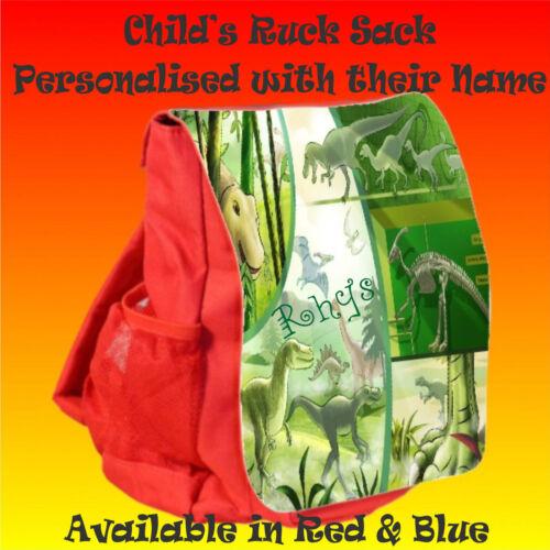 Personalised Child/'s Dinosaur Ruck Sack Back Pack Nursery Play School Bag GIFT