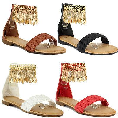 Ladies Flat Gladiator Ankle Strap Charm Tassles Flip Flop Boho Sandals Shoes