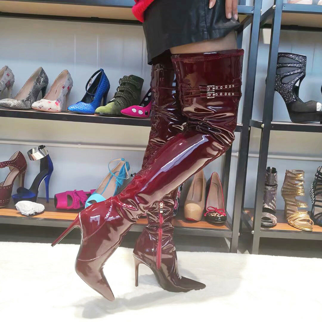 TRENDY Women Over the Knee Boots Stiletto Heel Patent Wine Red shoes Big Size 15