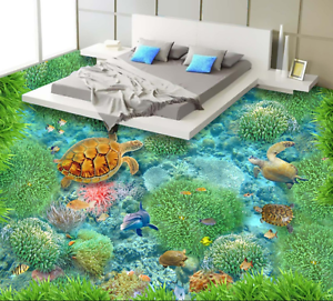 3D Turtles Corals 632 Floor WallPaper Murals Wall Print 5D AJ WALLPAPER UK Lemon