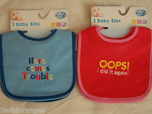 Bibs Girls Boys Pack of 3 Pink or Blue Waterproof Backs Embroidered