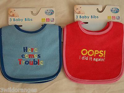 Babyprem Pack de 3 bébé garçons filles Grand Bavoirs Alimentation Sevrage Dribble Bib