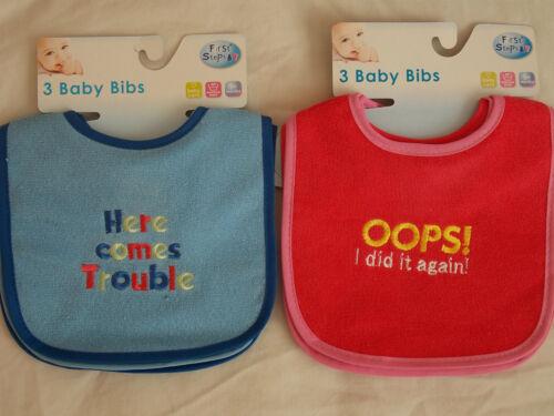Lätzchen Mädchen Jungen Pack 3 Pink oder Blau Wasserfest Rücken Bestickt