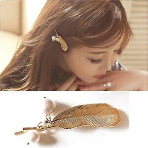 Women-Retro-Leaf-Feather-Hairpin-Imitation-Pearl-Korean-Pretty-Hair-Clip-t