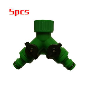 5pcs-set-Double-Garden-Hose-Dual-Splitter-Connectors-Adaptor-Twin-Off-On-Taps