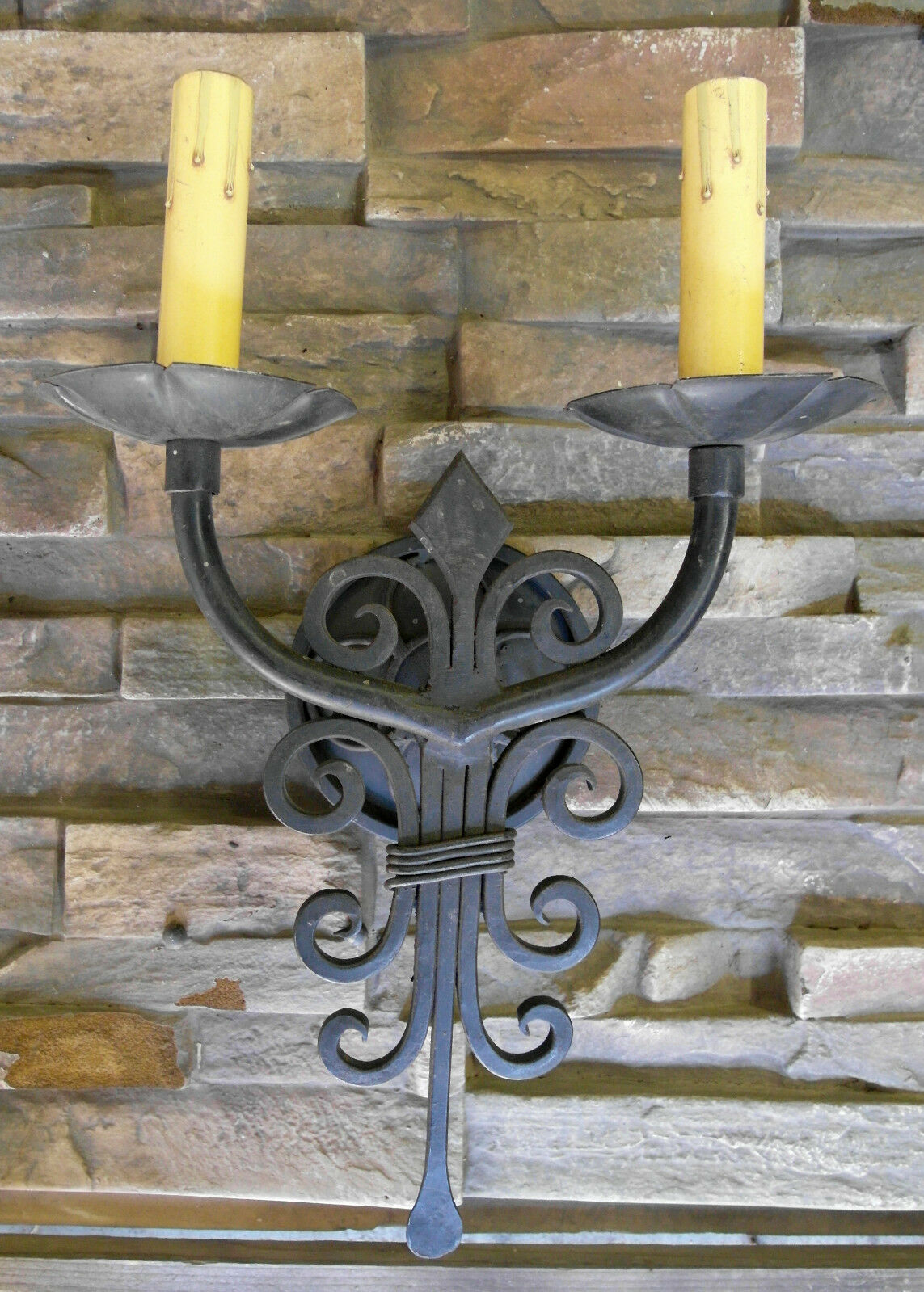 1920S STYLE HAND WROUGHT IRON SPANISH REVIVAL HOME DOUBLE WALL SCONCE LAMP LIGHT