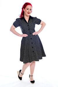 Image is loading Black-Polka-Dot-DOTTIE-DINER-Rockabilly-Dress-Plus- de6b73e09