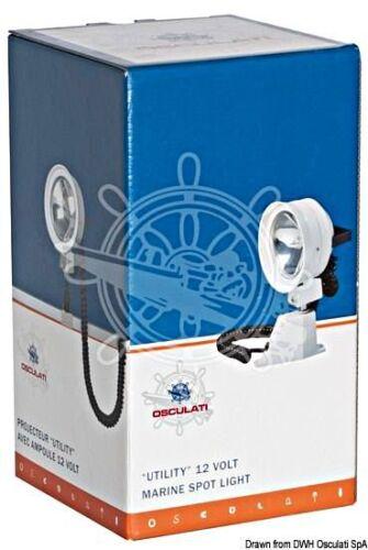Osculati Standard Utility High-Beam Light 30W 12V 300m with Windscreen Bracket