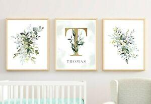 3 impresiones de Vivero Monograma Personalizado De Oro Verde Follaje botánico Art 616-A