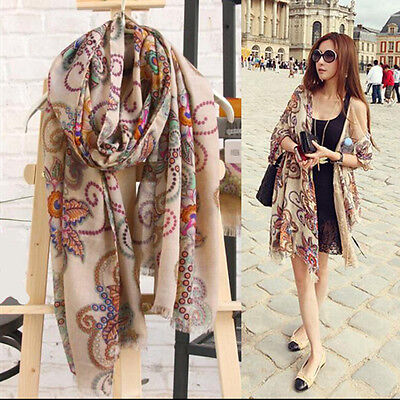 Ladies Womens Long Soft Chiffon Scarf Wrap Large Silk Winter Shawl Stole Scarves