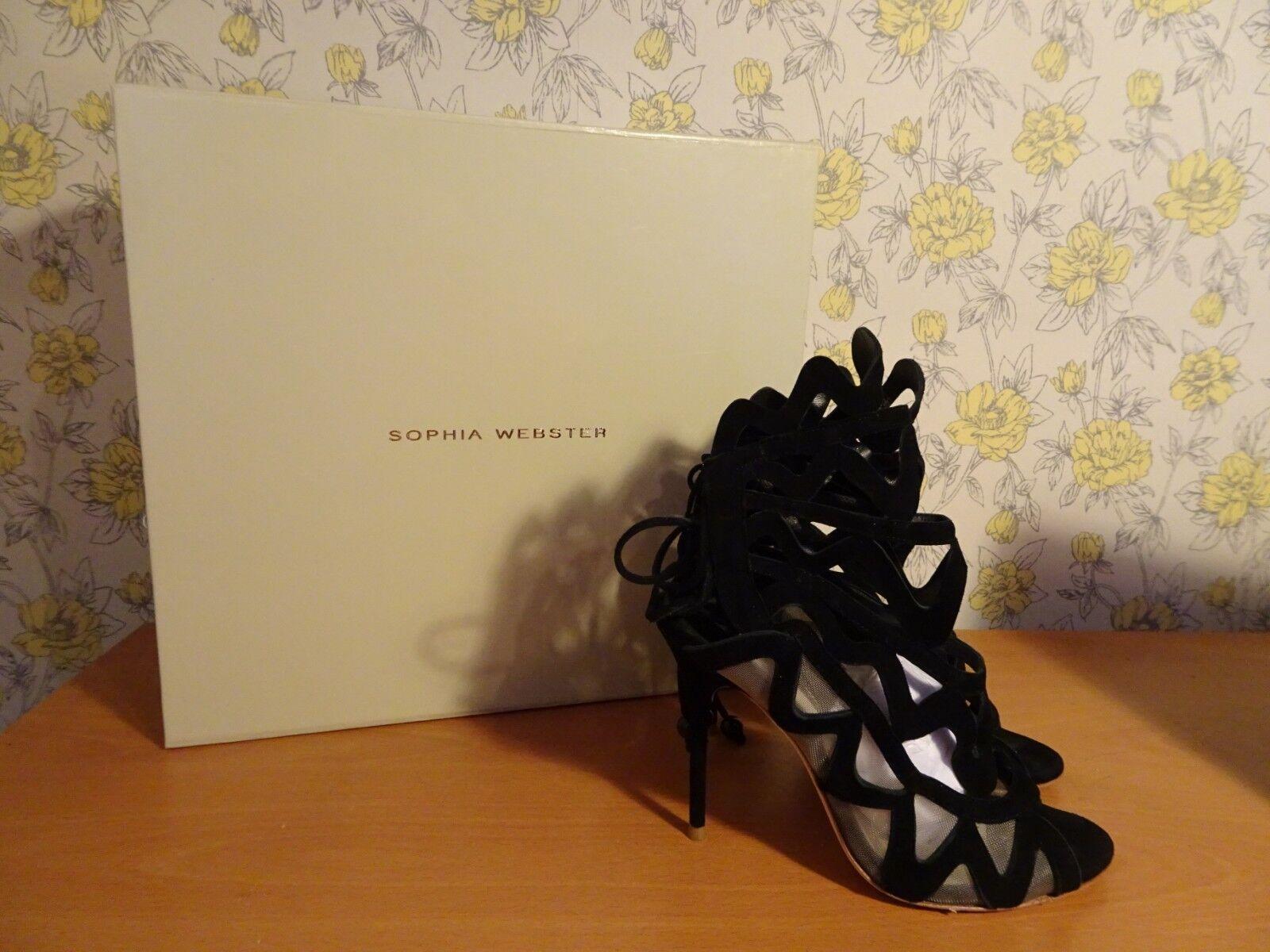 Femme Sophia Webster Mila Daim Découpe Bout Ouvert Noir Talons-UK 3 EU 36
