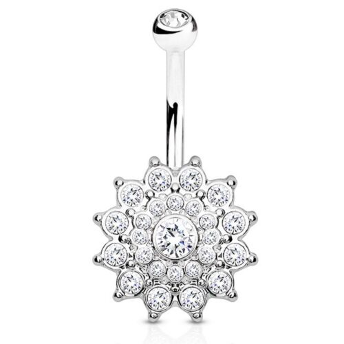 """CRYSTAL PAVED DAHLIA FLOWER BELLY RING NAVEL PIERCING BODY JEWELRY 14G 3//8/"""""""