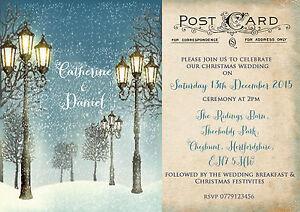PERSONALISED VINTAGE POSTCARD CHRISTMAS WEDDING INVITATIONS  PACKS OF 10