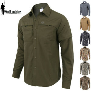 Men-039-s-Military-Shirts-Casual-Tactical-Combat-Shirt-Quick-dry-Removable-Sleeves