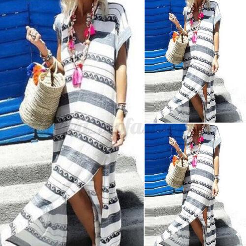 Women V Neck Short Sleeve Summer T-Shirt Dress High Split Long Maxi Dress Plus