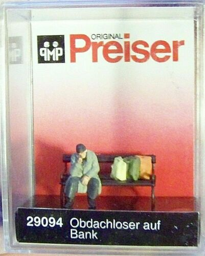187 scale Figure NEW HO Preiser 29094 Homeless Man on Park Bench