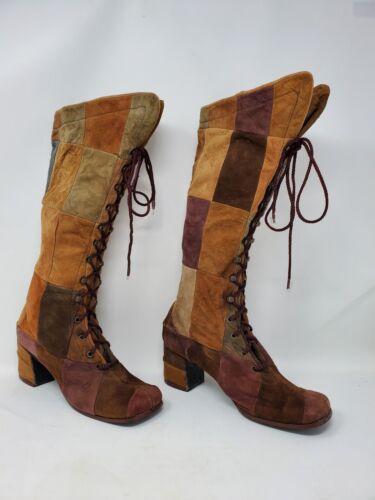 Amazing 1960's Suede Patchwork Boots, Hippie, Flow
