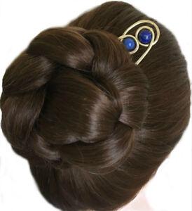 Hair Stick Bun Holder Aquamarine Hair Pin Gemstone Hair Fork for FINE Hair