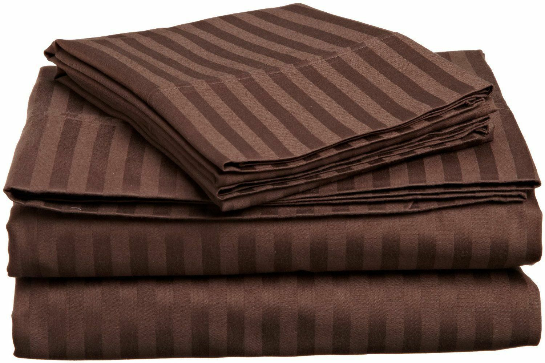 Bed 4 PCs Sheet Set Chocolate Stripe  800 Thread Count 100% Egyptian Cotton USA