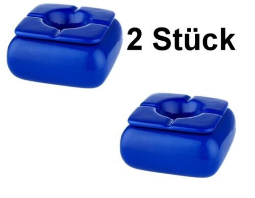 2 Stück Windaschenbecher 12cm blau eckig