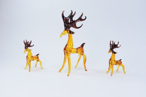 Set of 3 Deer Figurine of Blown Glass Crystal