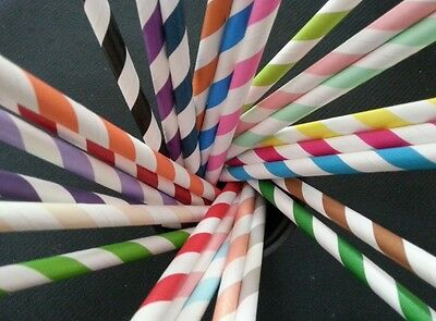 25pcs Mix Color Paper Drinking Straws Striped Wedding Party Birthday Decorations