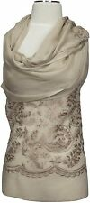 Schal Abend Stola  bestickt scarf embroidered Taupe Wolle Seide