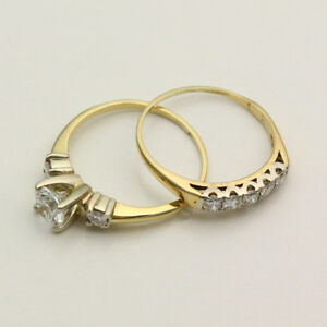 image is loading 14k yellow gold cubic zirconia wedding ring set - Cubic Zirconia Wedding Ring Sets